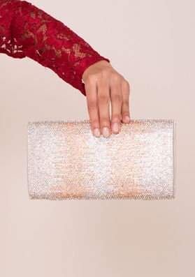 Laurelle Nude And Silver Diamante Clutch Bag