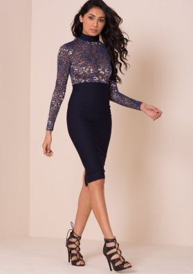 Leigh Navy And Gold Floral Crochet Top Bodycon Dress