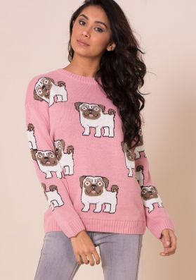 Ashlea Baby Pink Pug Print Knitted Jumper