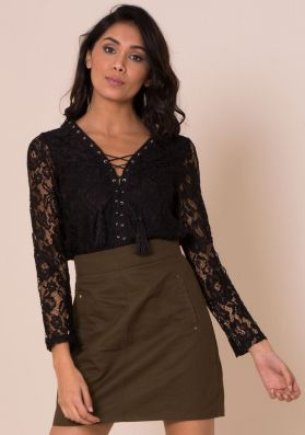 Sascha Black Lace Lace Up Top