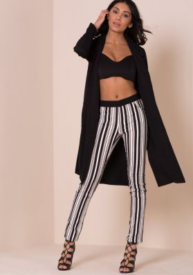 Hallie Black And White Striped Trousers