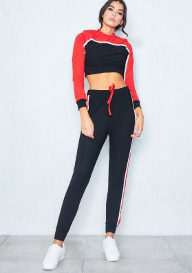 Kelly Red Contrast Panel Cropped Loungewear Set