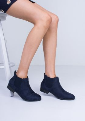 Violeta Navy Suede Elasticated Ankle Boots