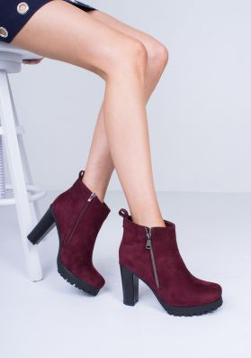 Octavia Wine Suede Heeled Ankle Boots