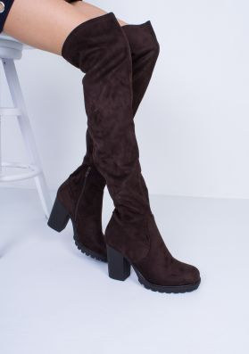 Odette Chocolate Suede Thigh High Heeled Boots