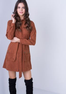 Sukie Rust Suede Utility Tie Front Mini Dress