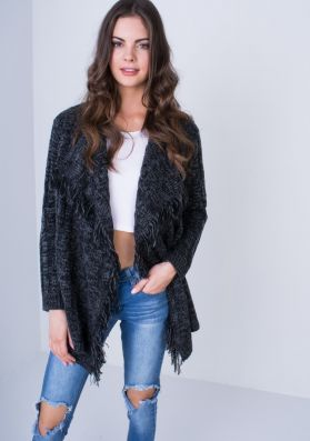 Wynter Charcoal Knitted Waterfall Button Cardigan