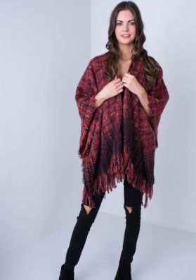 Maude Wine Tweed Knitted Cape