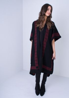 Merci Black And Wine Reversible Knitted Cape