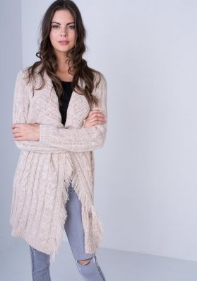 Wynter Cream Knitted Waterfall Button Cardigan