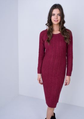 Phoebe Wine Cable Knit Midi Dress