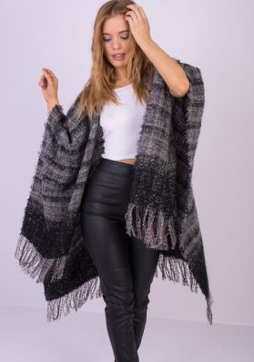 Maude Grey Tweed Knitted Cape