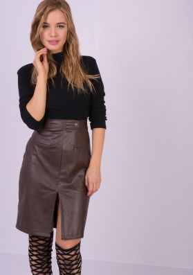 Harley Brown Faux Leather Bodycon Skirt