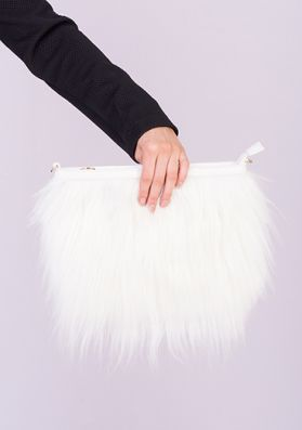 Krystal Cream Faux Fur Clutch Bag