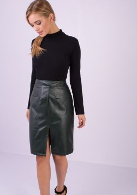 Harley Green Faux Leather Bodycon Skirt