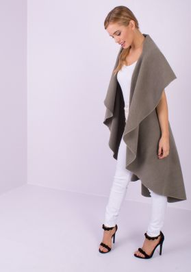 Zandra Mocha Waterfall Sleeveless Coat