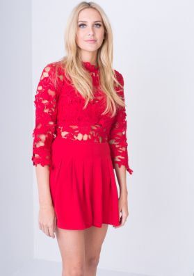 Raysa Red Crochet Lace Playsuit