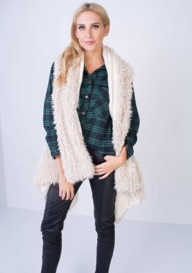 SP Cream Waterfall Shearling Gilet