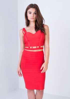 Larisa Red Bandage Cut Out Co-ord