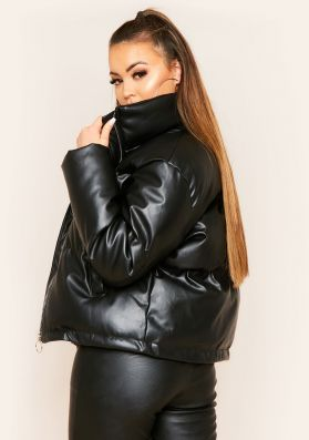 Ronja Black Faux Leather Puffer Coat