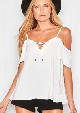 Toula White Lace Up Short Sleeve Swing Top