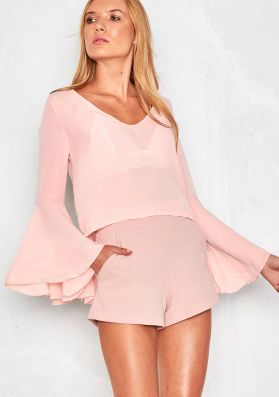 Malika Baby Pink Bell Sleeve Cut Out Back Blouse