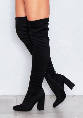Carmel Black Suede High Heeled Boots