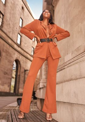 Andrea Brown High Waist Flare Trousers