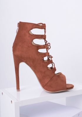 Laria Tan Suede Lace Up Heels