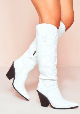 Layla White Faux Leather Western Boots