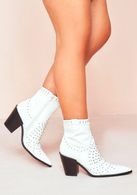 Lotta White PU Stud Pointed Western Ankle Boots