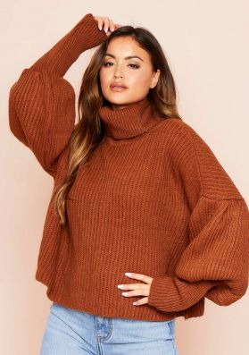 Aiyana Brown Balloon Sleeve Roll Neck Cropped Jumper