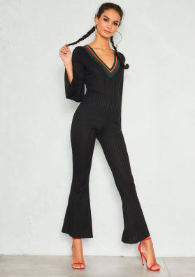 Ally Black Ribbed Contrast V Neck Jumpsuit