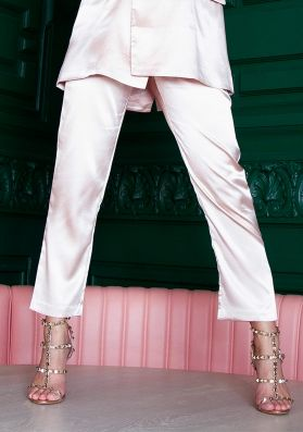 Luanne Pink Elasticated Waist Satin Trousers