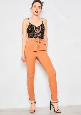 Evia Tan Lace Up Trousers