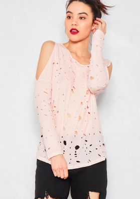 Courtney Nude Distressed Cold Shoulder T Shirt