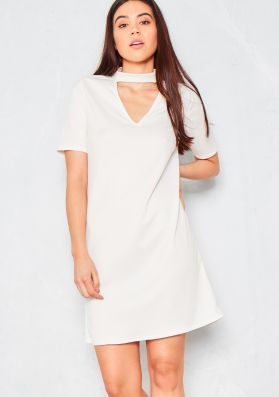 Keya White Cut Out Choker Neck Shift Dress