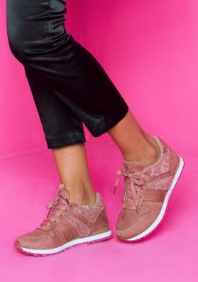 Vanessa Pink Teddy Bear Fur Lace Up Trainers