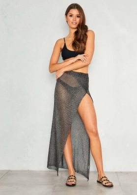 Lin Black Metallic Split Maxi Skirt
