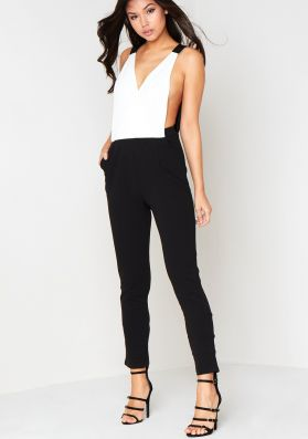 Tilly White Plunging Cut Out Jumpsuit