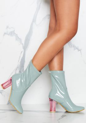 Cassia Green Clear Heeled Patent Boots