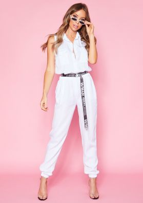 Layla White Button Up Jumpsuit