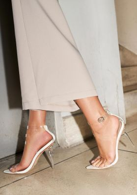 Grace White Perspex Strappy Pointed Heels