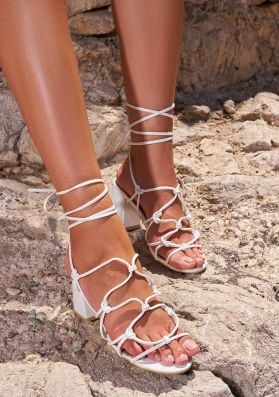 Gina White Strappy Heeled Sandals