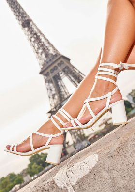 Liberty White Strappy Lace Up Heeled Sandals