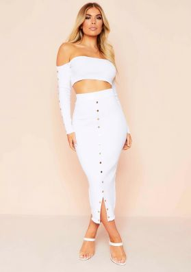 Ayla White Knit Button Crop Top And Midi Co-Ord Set