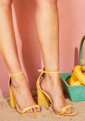 Whitney Yellow Faux Suede Block Heels