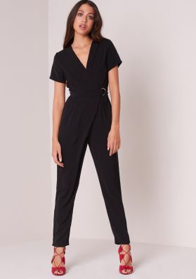 Juni Black Short Sleeved D-Ring Wrap Jumpsuit