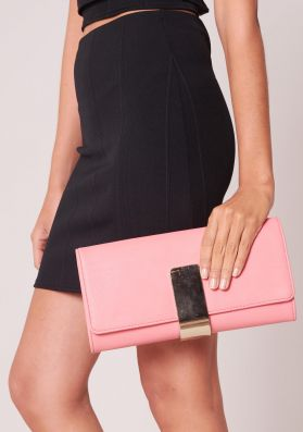 Teagan Pink Leather Gold Detail Clutch