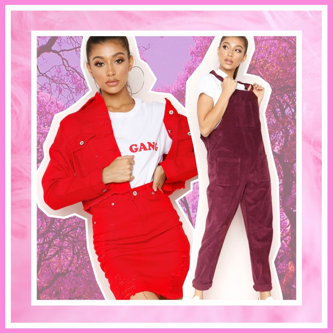 Purple Corduroy Dungarees and Red corduroy co-ord